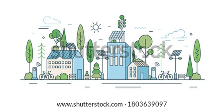 Cityscape with modern eco friendly technology vector illustration in line art style. Municipal area with ecology transport, wi-fi zone, natural park and solar energy equipment isolated on white Royalty-Free Stock Photo #1803639097