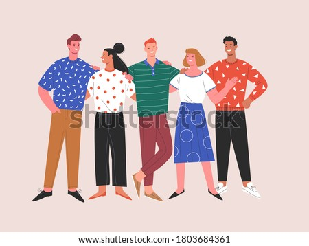 International friendship. Vector flat contemporary illustration of miscellaneous happy young people in casual clothes standing together. Isolated on background  Royalty-Free Stock Photo #1803684361