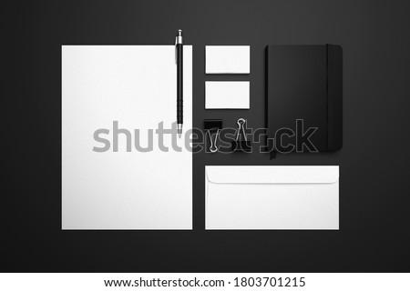 minimal stationery branding mock up Royalty-Free Stock Photo #1803701215