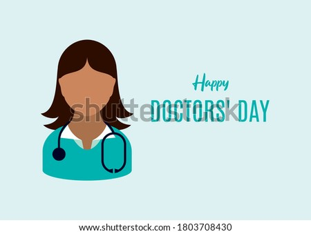Happy Doctors' Day illustration. Female doctor with stethoscope icon. African American doctor woman clip art