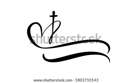 Template vector logo for churches and Christian organizations cross on the heart. Religious calligraphy sign emblem cross and heart. Minimalistic illustration.