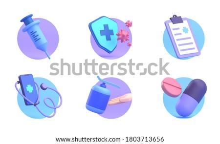 3D RENDER ILLUSTRATION UI UX ICON HEALTHCARE MEDICAL PHARMACY INJECTTION HAND SANITIZER STETHOSCOPE MEDECINE DOCTOR SET