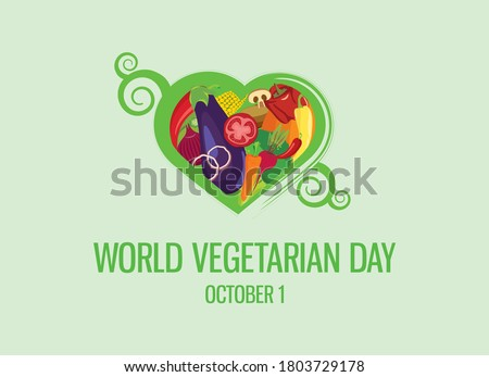World Vegetarian Day vector. Vegetable heart shape icon vector. Different types of vegetables vector. Green floral heart shaped vegetables set. Vegetarian Day Poster, October 1. Important day Royalty-Free Stock Photo #1803729178