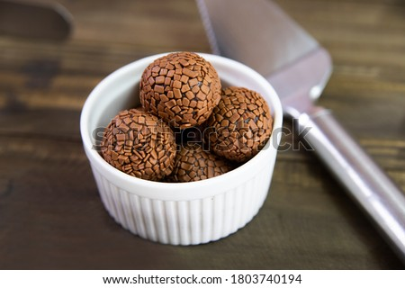 brigadeiro chocolate candy in a white jar Royalty-Free Stock Photo #1803740194