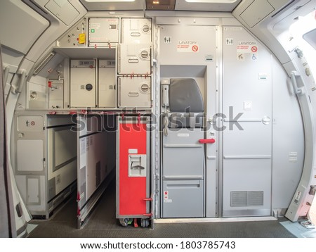 Aircraft aft galley with full of storage unit. The picture show how it look like.