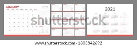 Wall calendar template for 2021 year. Planner diary in a minimalist style. Week Starts on Sunday. Monthly calendar ready for print. Royalty-Free Stock Photo #1803842692