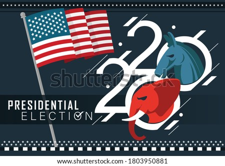 Presidential US Election Banner for year 2020. American Election campaign between democrats and republicans. Electoral symbols of both political parties as elephant & donkey. USA flag theme. #1803950881