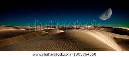 Night in the desert sand dunes Royalty-Free Stock Photo #1803964558