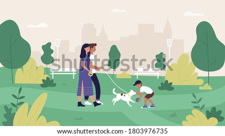 Family people in summer city park illustration. Cartoon flat mother, father and son characters walking and playing with pet dog in green park landscape, cityscape with happy family background