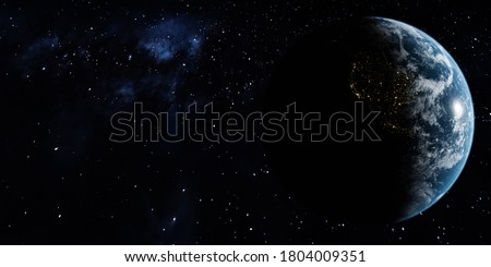 Earth globe on the galaxy background. Elements of this image furnished by NASA. Space art. Astronomy and science concept. Earth Hour and Earth Day event theme Royalty-Free Stock Photo #1804009351