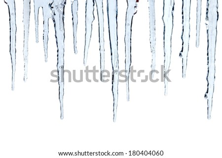 Icicles cut out, isolated on white background Royalty-Free Stock Photo #180404060