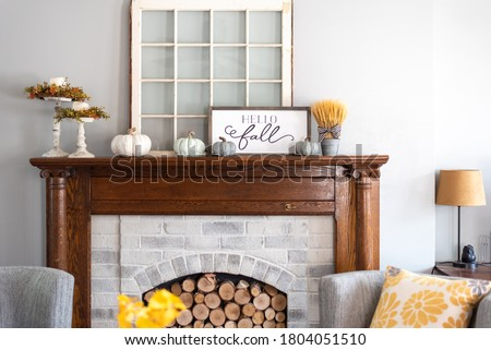 Stylish fall home decor in gray and gold Royalty-Free Stock Photo #1804051510