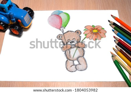 Teddy bear with balls and flower - pencil drawing