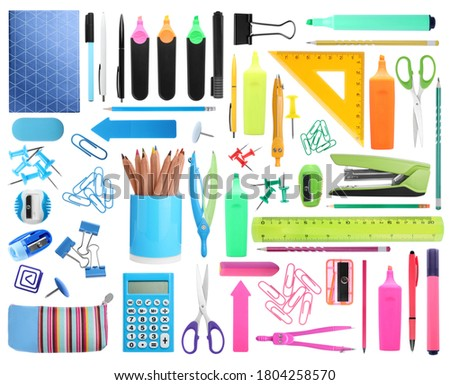 Set of bright school stationery on white background Royalty-Free Stock Photo #1804258570