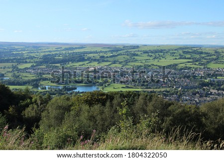 beautiful landscape views of otley west yorkshire countryside from surprise view point at chevin forest park rural england #1804322050