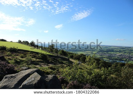 beautiful landscape views of otley west yorkshire countryside from surprise view point at chevin forest park rural england #1804322086