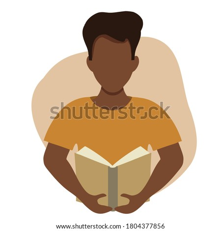 Vector flat illustration of a black man reading a book. Education, training, book lovers club infographics, central illustration. African American man holding a book in flat style. Black guy student. Royalty-Free Stock Photo #1804377856