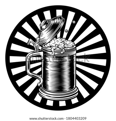 A beer stein German Oktoberfest pint tankard mug in a retro vintage intaglio woodcut engraved style. This is a raster version of a vector illustration