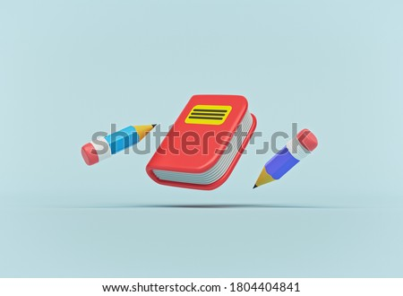 cartoon style minimal cute book and pencils isolated on pastel blue background. 3d rendering