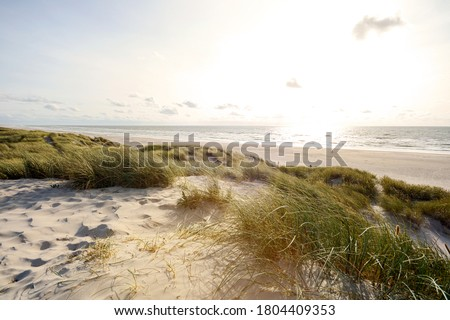 View to beautiful landscape with beach and sand dunes near Henne Strand, North sea coast landscape Jutland Denmark Royalty-Free Stock Photo #1804409353