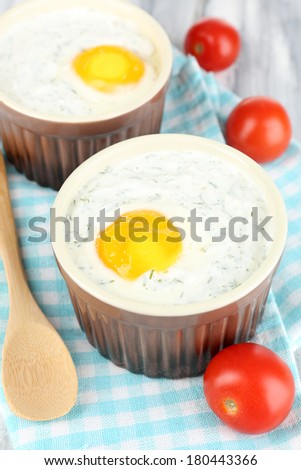 Baked eggs close up #180443366