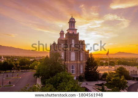 Logan Utah LDS Temple at dusk Royalty-Free Stock Photo #1804561948