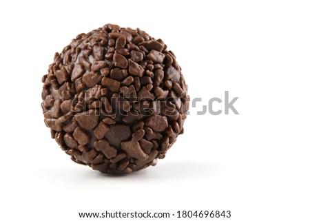 Brigadier, handmade chocolate candy isolated on white background Royalty-Free Stock Photo #1804696843