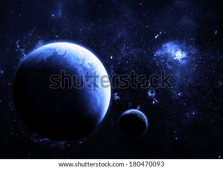 Blue Planet Deep in Space - Elements of this Image Furnished by NASA
