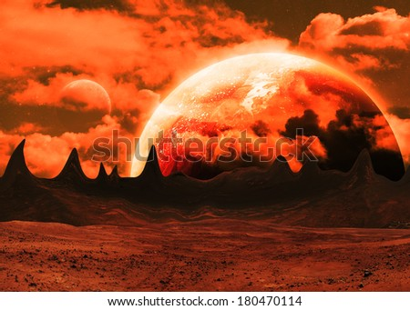 Red Alien Landscape - Elements of this Image Furnished by NASA