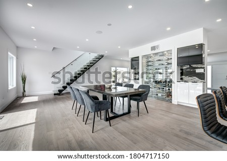 Real estate photography - New big luxury modern house in Montreal's suburb partially furnished with backyard, empty rooms, closets, basement and garage Royalty-Free Stock Photo #1804717150