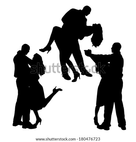Vector silhouette of people who dance on a white background.  #180476723