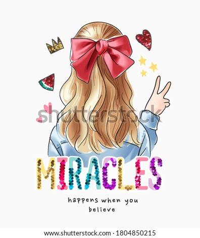 colorful sequins miracle slogan with blonde hair girl illustration Royalty-Free Stock Photo #1804850215