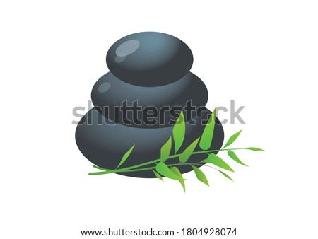 Pile of hot stones for spa procedures icon. Massage stones with bamboo illustration. Lava stones isolated on a white background. Pile of massage pebbles icon. Stacked zen stones stack clip art