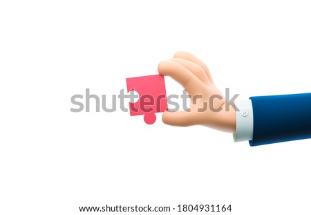 Cartoon businessman character hand holding a puzzle piece. 3d illustration.