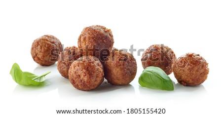 fried meatless plant based balls isolated on white background Royalty-Free Stock Photo #1805155420