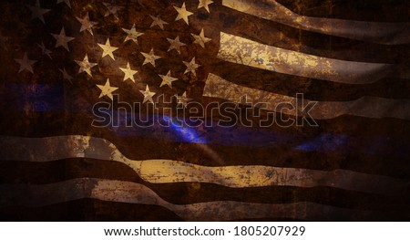 Thin Blue Line Wavy American Flag in Support of Police and Law Enforcement with grunged texture Royalty-Free Stock Photo #1805207929