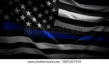 Thin Blue Line Wavy American Flag in Support of Police and Law Enforcement Royalty-Free Stock Photo #1805207935