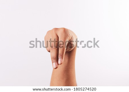 Letter N of the alphabet of Sign Language of Peru and America. Latin Peruvian man hands.