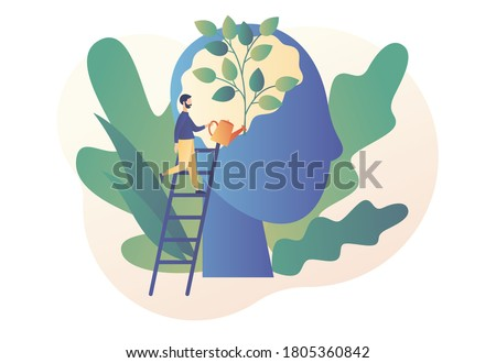 Personal growth. Self-improvement and self development concept. Tiny man watering that growing plant from the brain as metaphor growth personality. Modern flat cartoon style. Vector illustration #1805360842