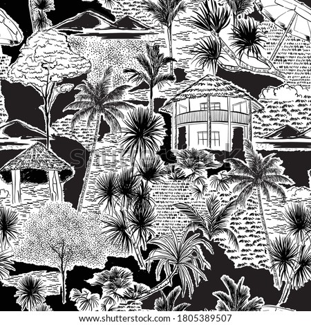 Stylish Hand drawn sketch summer Island beach ocean ,palm tree and plants Vacations seamless pattern vector EPS10,Design for fashion , fabric, textile, wallpaper, cover, web , wrapping and all prints  #1805389507