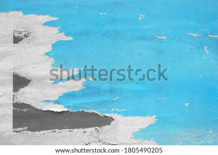 Old ripped torn posters grunge texture background creased crumpled paper backdrop placard surface / Urban street posters  Royalty-Free Stock Photo #1805490205