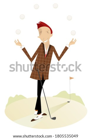 Funny golfer on the golf course illustration. Smiling golfer with a golf club juggles balls