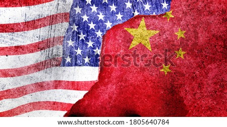 CHINA vs  US background concept, Flags of usa or United States of America and China on old cracked concrete background Royalty-Free Stock Photo #1805640784
