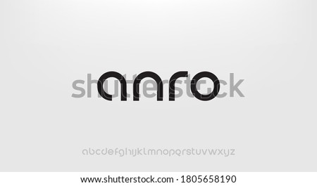 Anro, Abstract technology science alphabet lowercase font. digital space typography vector illustration design Royalty-Free Stock Photo #1805658190