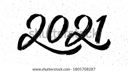 2021 Happy New Year of the Ox. Greeting card design with chinese calligraphy for holiday. Hand drawn number 2021 lettering on vintage subtle grunge background. Vector illustration #1805708287