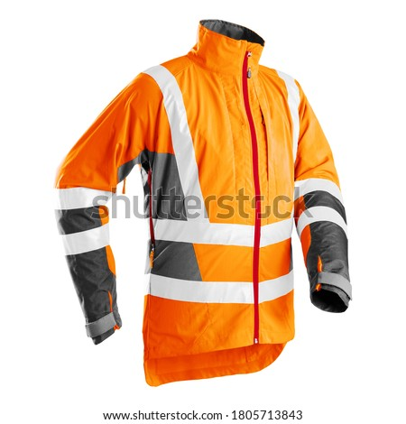Outdoor Protective Clothing Isolated. Orange High Viz Light-Up Technical Jacket Made of Light Polyester for Forestry Work. High Visibility Technical Outerwear. Man's Wardrobe Performance Garment #1805713843