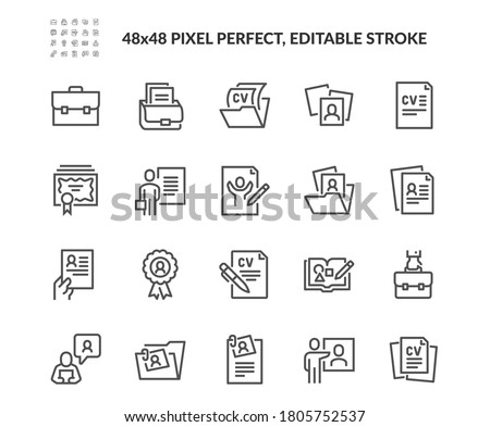 Simple Set of CV and Resume and Self Presentation Related Vector Line Icons. Contains such Icons as Portfolio, Diploma, Sketch Book and more. Editable Stroke. 48x48 Pixel Perfect. #1805752537