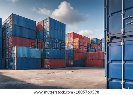 Stack of Containers Cargo Ship Import/Export in Harbor Port, Cargo Freight Shipping of Container Logistics Industry. Nautical Transport Distribution Yard, Business Commercial Dock and Transportation.  Royalty-Free Stock Photo #1805769598
