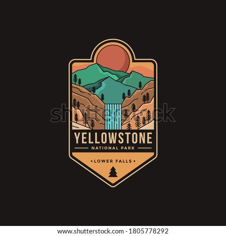 Lineart Emblem patch logo illustration of Lower falls Yellowstone National Park Royalty-Free Stock Photo #1805778292