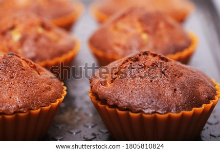 fresh pastries, cupcakes close up picture
